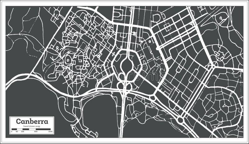 堪培拉澳大利亚在减速火箭的样式的市地图 黑白向量例证 库存例证