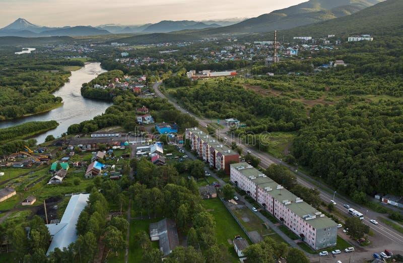 堪察加半岛的Yelizovo镇 免版税库存图片