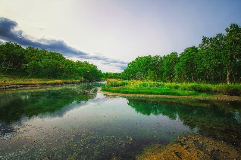 堪察加,自然公园,俄罗斯 在火山Priemysh的脚的Khodutkinskiye温泉城 免版税库存照片