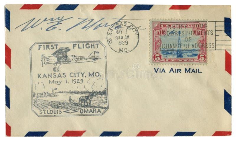 堪萨斯城,密苏里,美国- 1929年5月1日:美国历史信封:有封印第一班飞行的圣路易斯,奥马哈,飞机fl盖子 库存照片