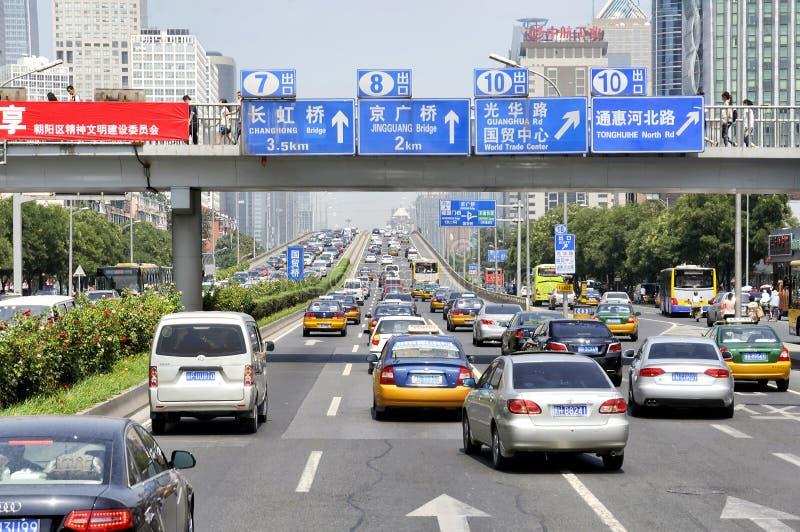 堵车在北京街市,中国 免版税库存图片