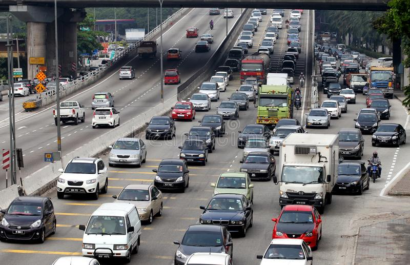 堵车在吉隆坡,马来西亚 免版税库存照片