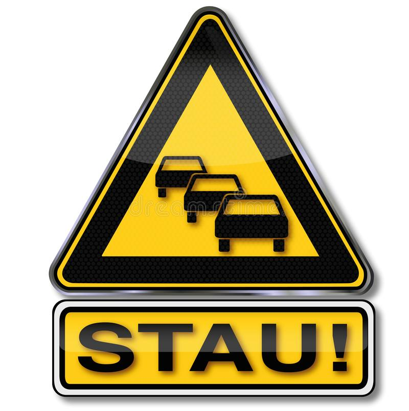堵车的路标 向量例证