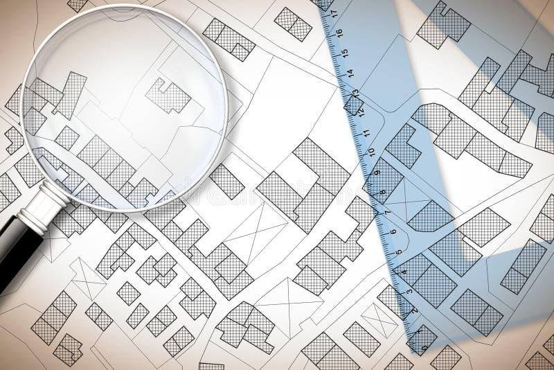 塑料三角板和放大镜在疆土一个虚构的地籍图有大厦、领域和路的- 3D回报 免版税库存照片