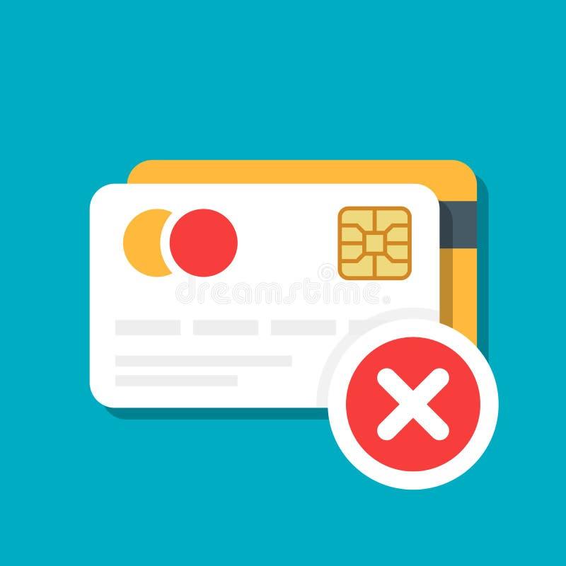 塑料借方或信用卡与付款拒绝象 银行卡 电子商务 在颜色隔绝的传染媒介例证 库存例证