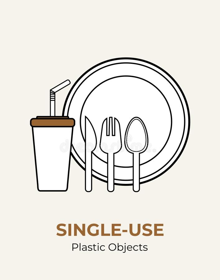 塑料匙子,叉子,刀子,绞拌器,秸杆,板材,杯子 单一用处白色塑料利器例证集合 o 向量例证