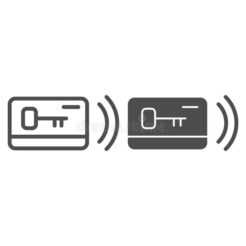 塑料卡片钥匙线和纵的沟纹象 通入在白色隔绝的传染媒介例证 电子锁概述样式设计 向量例证