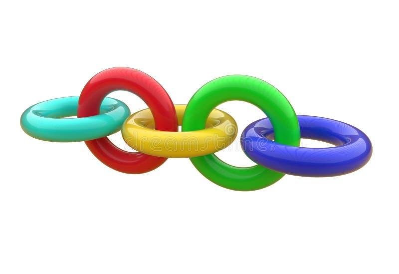 塑料圆环树尺寸链子  库存例证