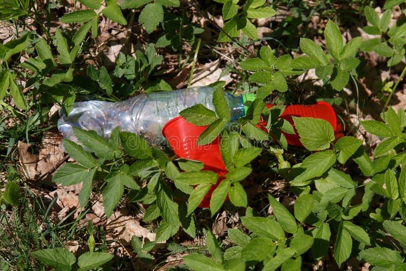 塑料垃圾在森林里 库存图片