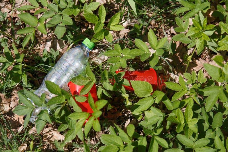 塑料垃圾在森林里 免版税库存图片