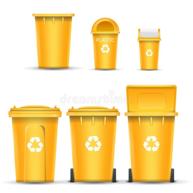 塑料垃圾的黄色回收站桶传染媒介 打开和关闭 正面图 标志箭头 按钮查出的现有量例证推进s启动妇女 向量例证