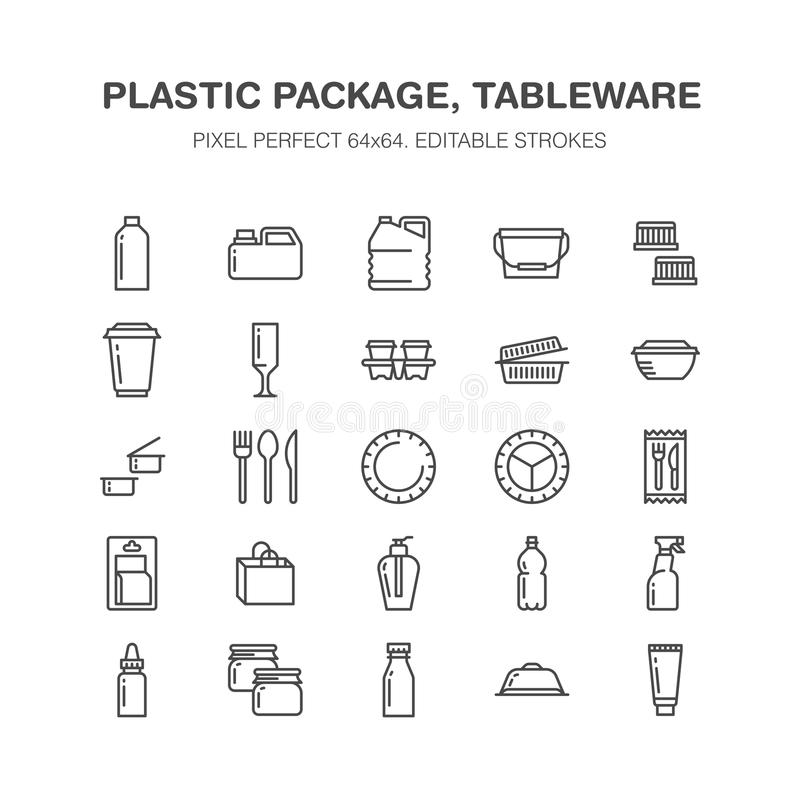 塑料封装,一次性碗筷线象 产品包装,容器,瓶,罐,板材利器 库存例证