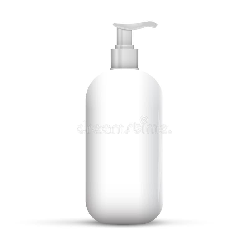 塑料干净的白色瓶 皇族释放例证