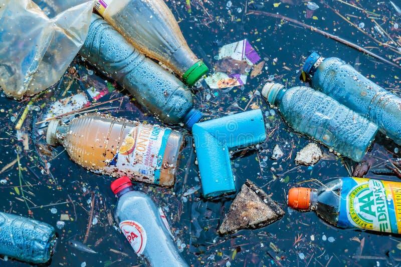 塑料废漂浮在一条运河在阿姆斯特丹,荷兰 免版税库存照片
