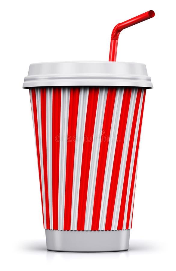 塑料或纸有秸杆的饮料杯子 库存例证