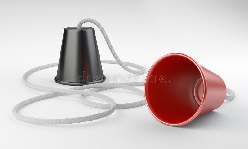 塑料杯子电话 库存例证
