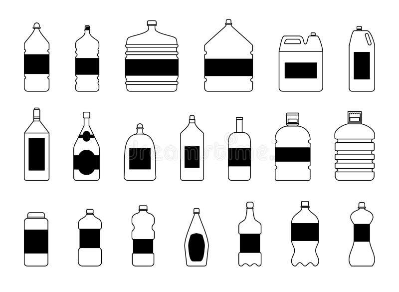 塑料水瓶传染媒介空白自然蓝色干净的液体水色可变的空白的模板剪影模板例证 皇族释放例证