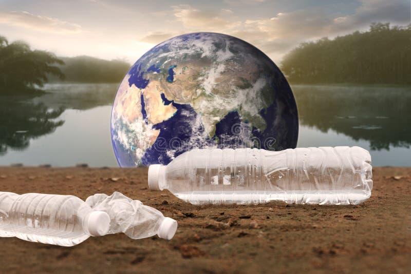 塑料水瓶污染海洋环境概念 向量例证