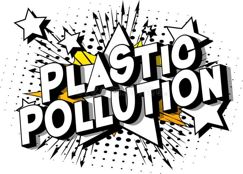 塑料污染-漫画样式词 皇族释放例证
