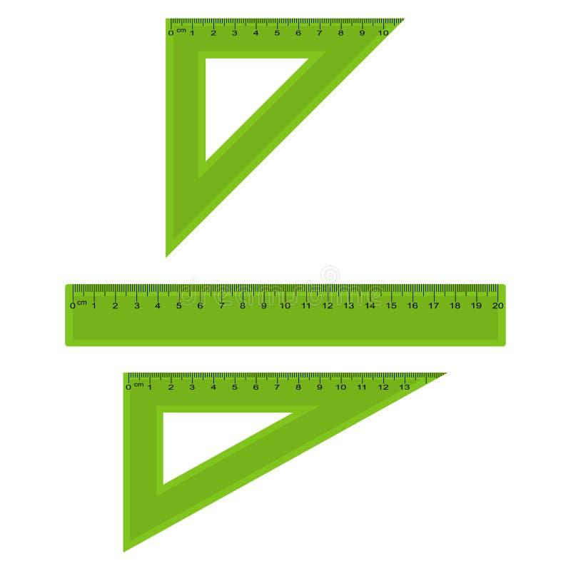塑料测量和三角统治者在厘米和毫米 向量 库存例证