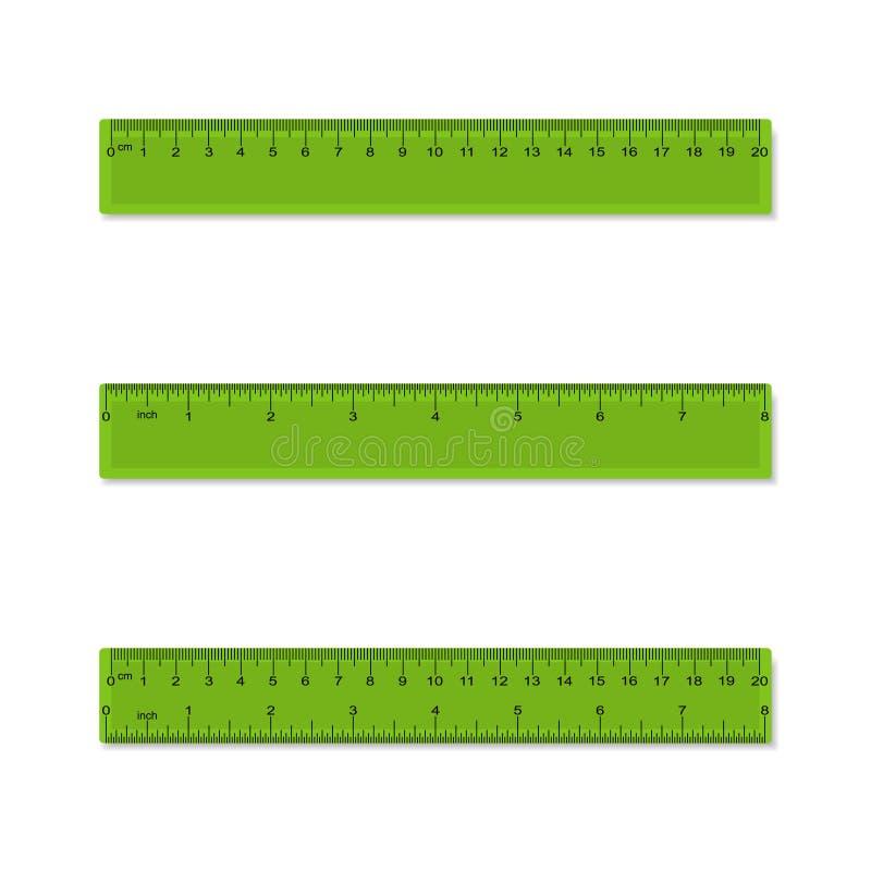 塑料测量的统治者在厘米,英寸, - aparted和联合的毫米 向量 向量例证