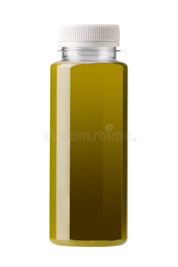 塑料瓶模板和绿色汁液 向量例证