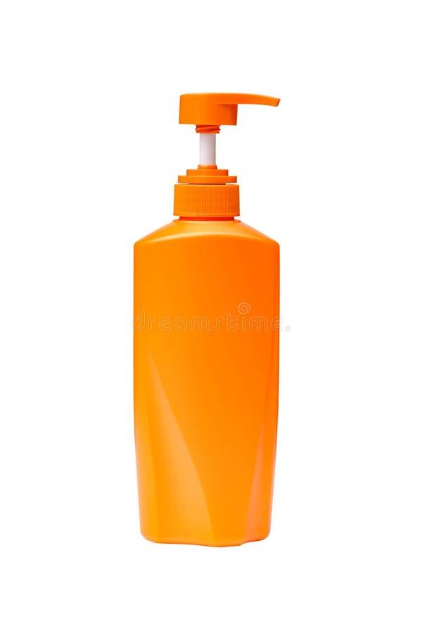 塑料瓶泵浦头颜色橙色孤立 图库摄影