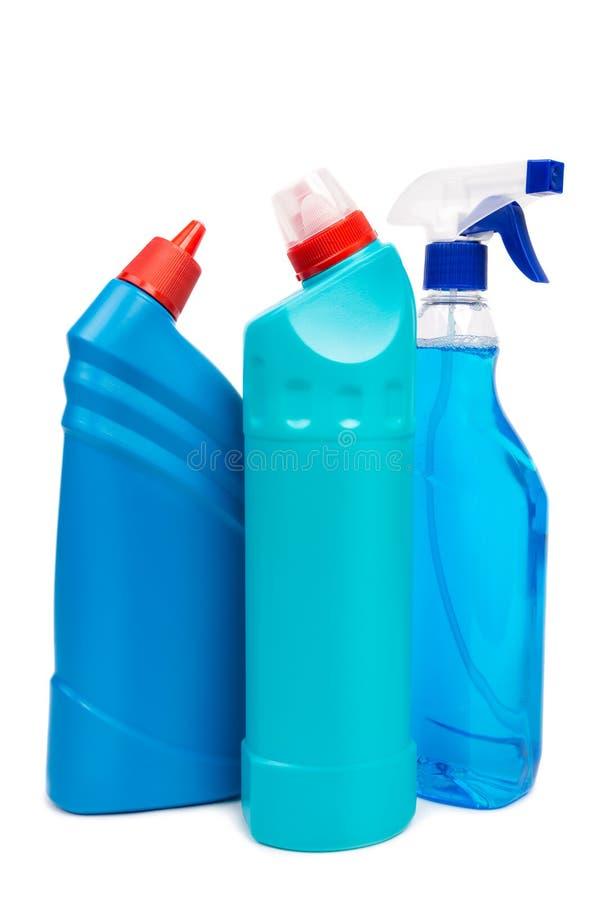 塑料瓶清洁产品 免版税库存照片