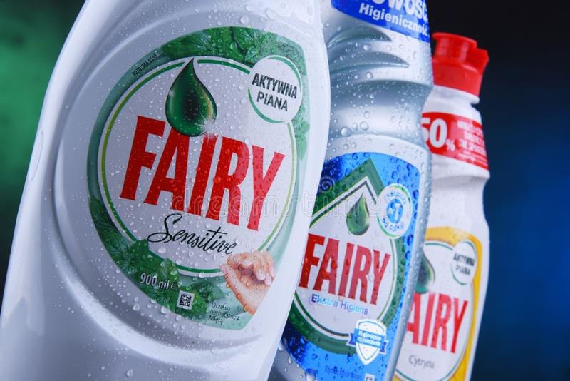塑料瓶神仙的盘洗涤剂 库存图片