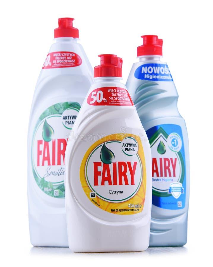 塑料瓶神仙的盘洗涤剂 免版税库存照片