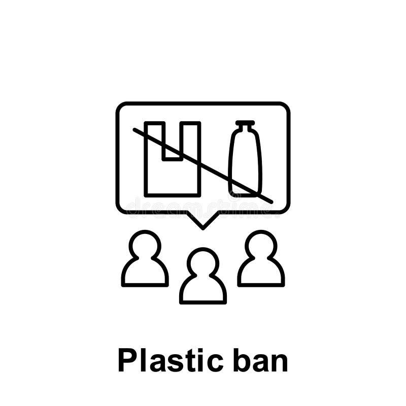 塑料禁令,社会认识象 污染问题象的元素 网站设计和发展的,应用程序稀薄的线象 库存例证