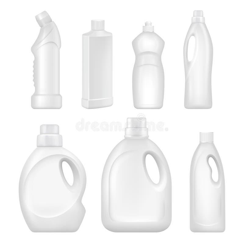 塑料空的瓶 有化工液体的有益健康的容器清洗的服务的 向量例证