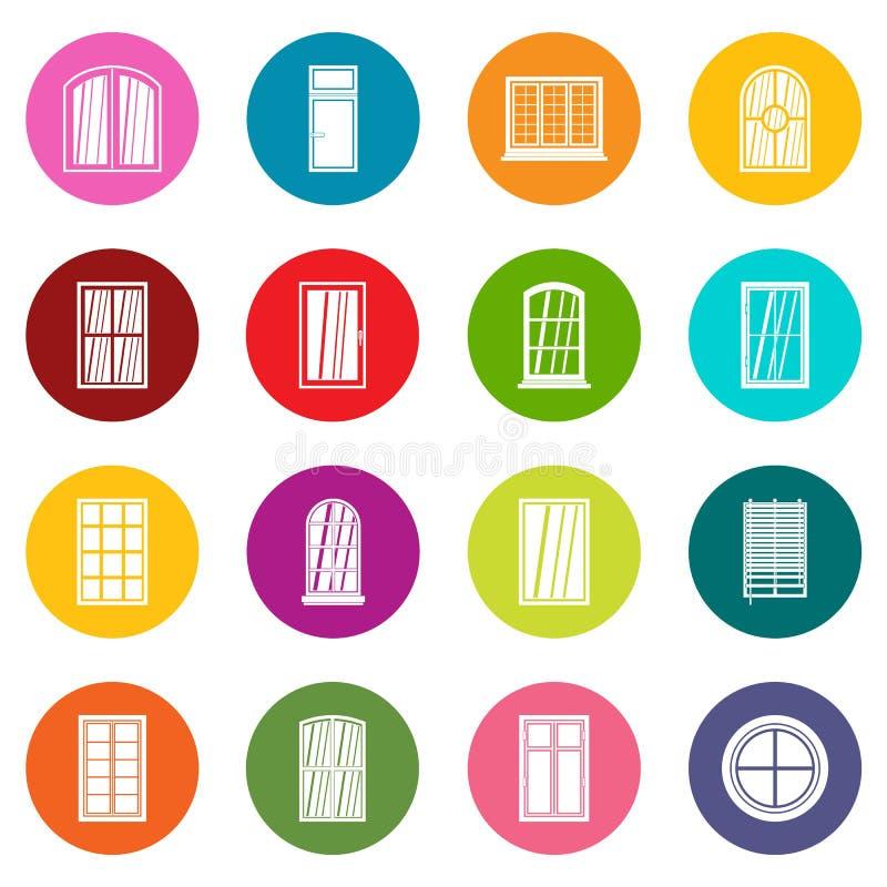 塑料窗口形成象许多彩色组 皇族释放例证