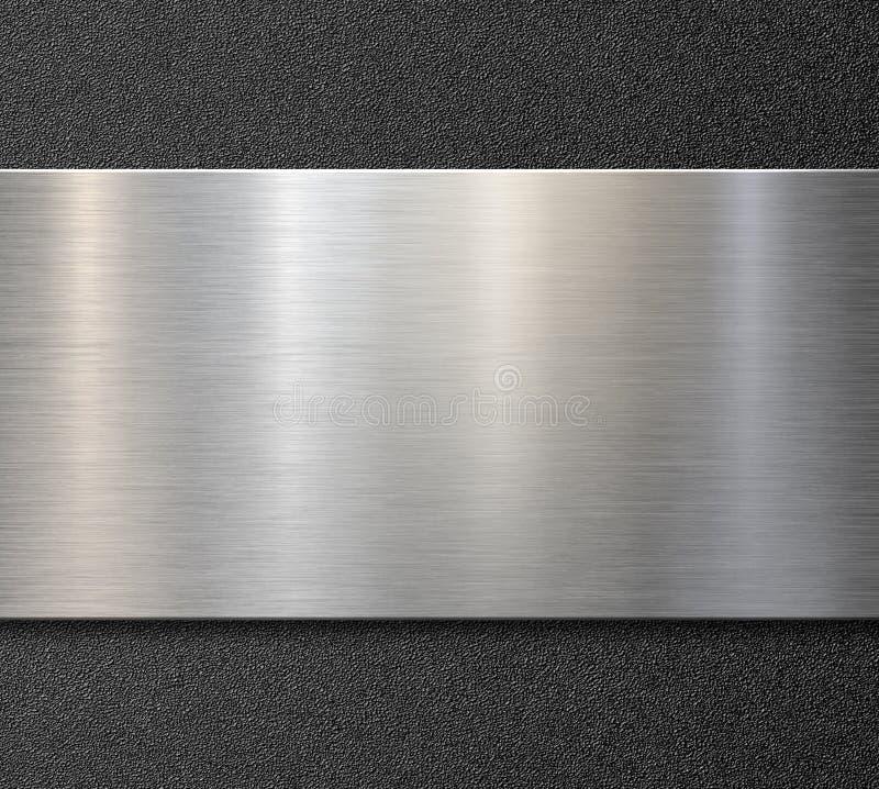 塑料背景上的拉丝钢或铝金属面板3d图 免版税库存照片