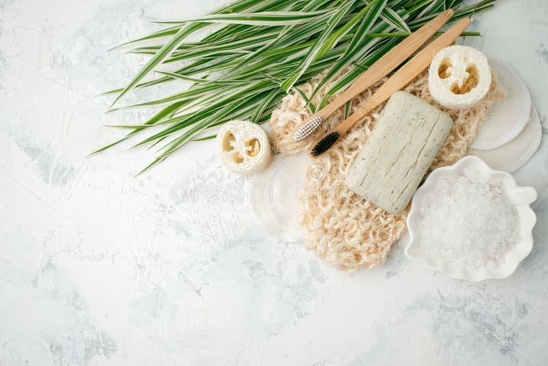 塑料自由背景 由天然材料做的个人照料产品:竹牙刷,化装棉,肥皂,绿色叶子 库存照片