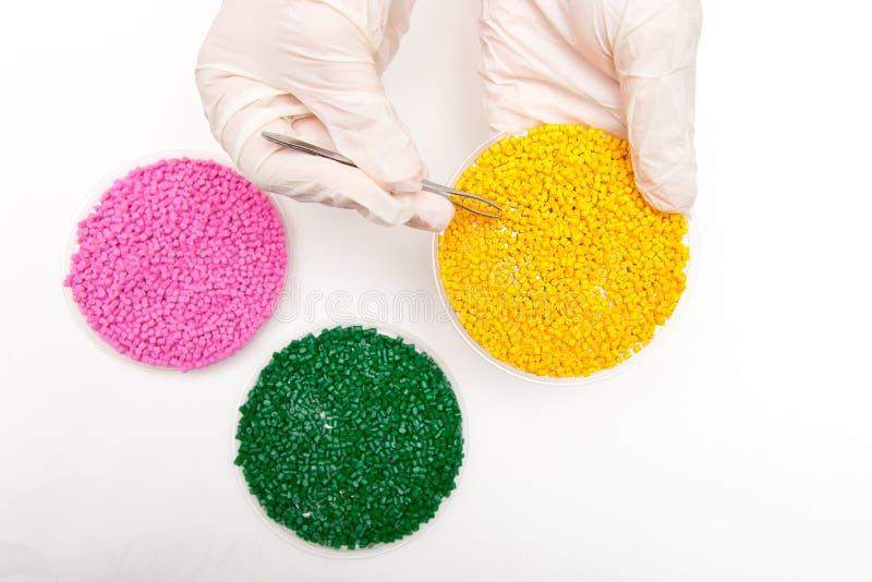 塑料药丸 聚合物的染料在粒子 戴着手套的工作者采取与镊子的塑料药丸 免版税库存照片