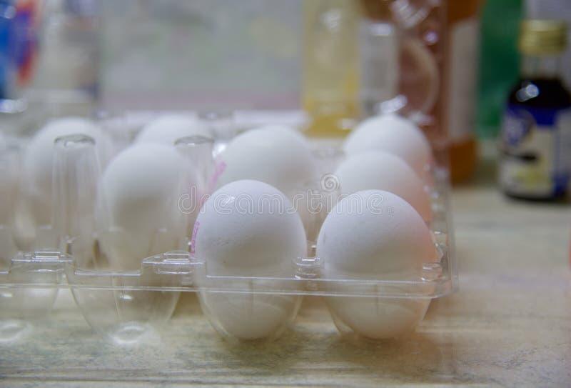 塑料蛋盒中的白蛋 免版税图库摄影