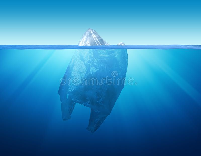塑料袋与冰山的环境污染 免版税库存图片