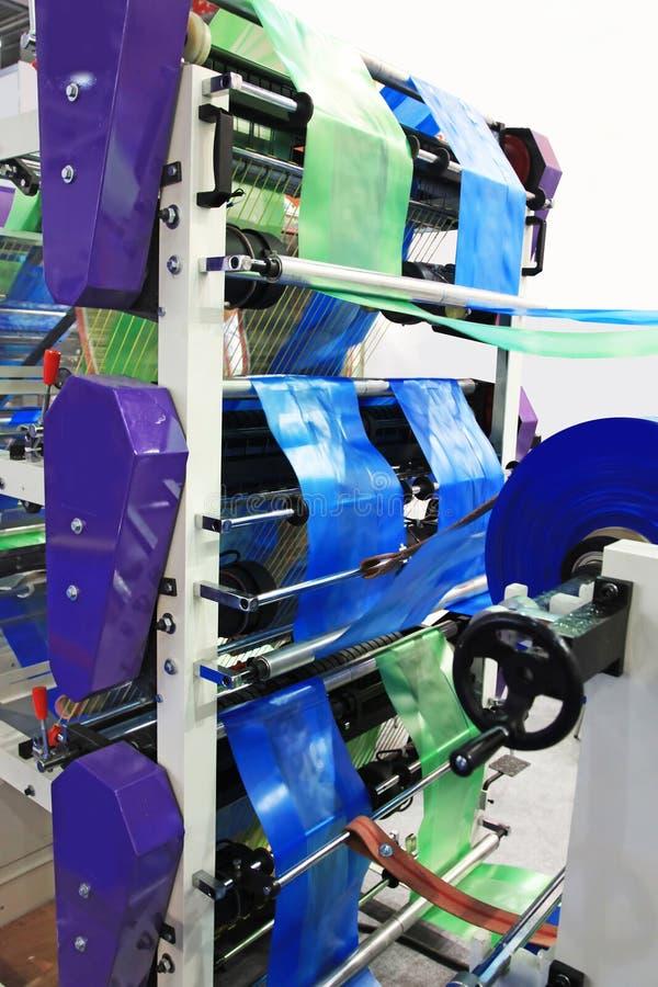 塑料袋的生产 免版税库存照片