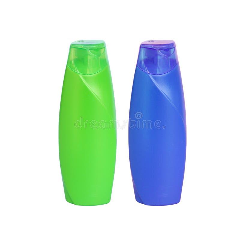 塑料香波瓶,隔绝在白色背景 免版税库存照片