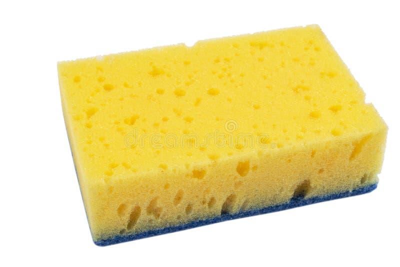 塑料黄色海绵表面的宏观射击在白色背景隔绝的  特写镜头纹理 黄色洗刷海绵 海绵textu 图库摄影