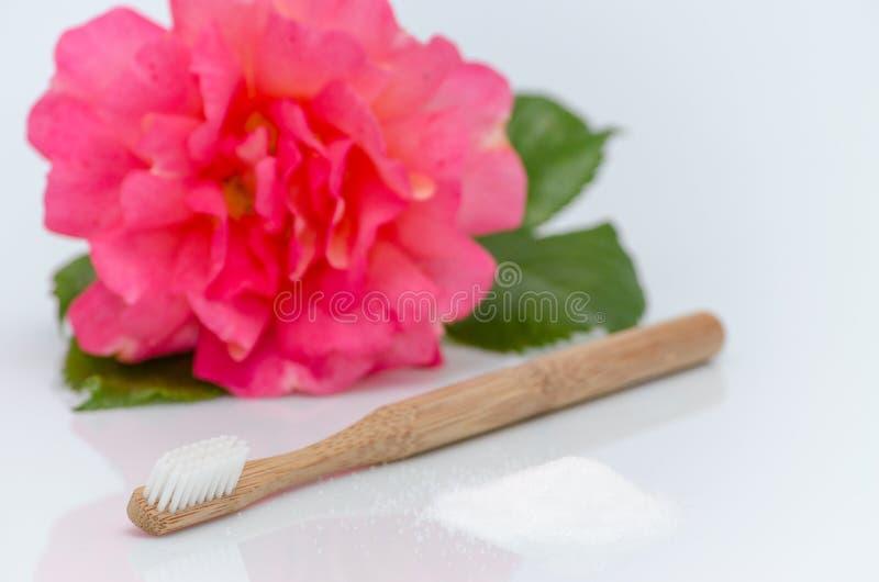 塑料,木牙刷和木糖醇,桦树糖,在白色没有上升 图库摄影