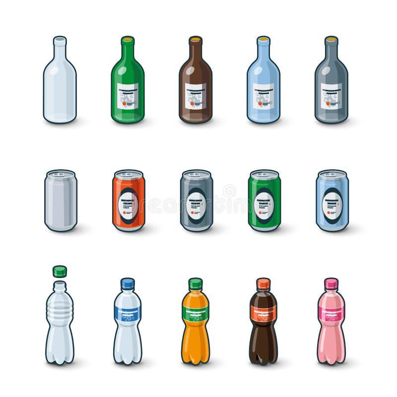 塑料玻璃瓶铝罐例证 库存例证