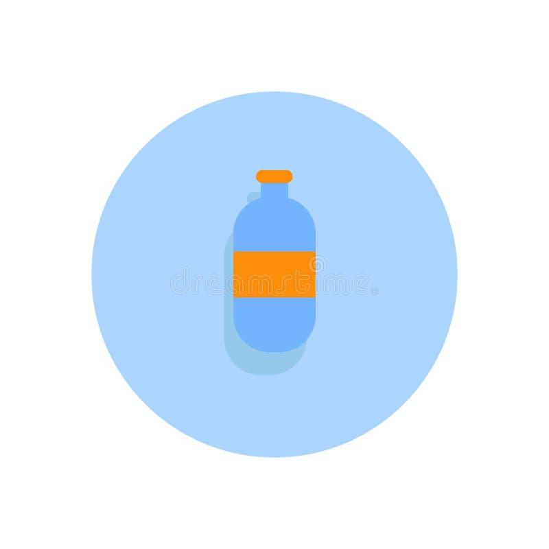 塑料水瓶平的象 圆的五颜六色的按钮,圆 向量例证