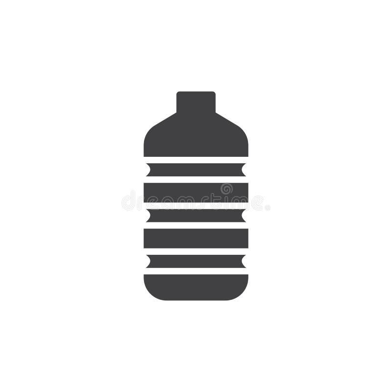 塑料水瓶象传染媒介,被填装的平的标志,在白色隔绝的坚实图表 向量例证
