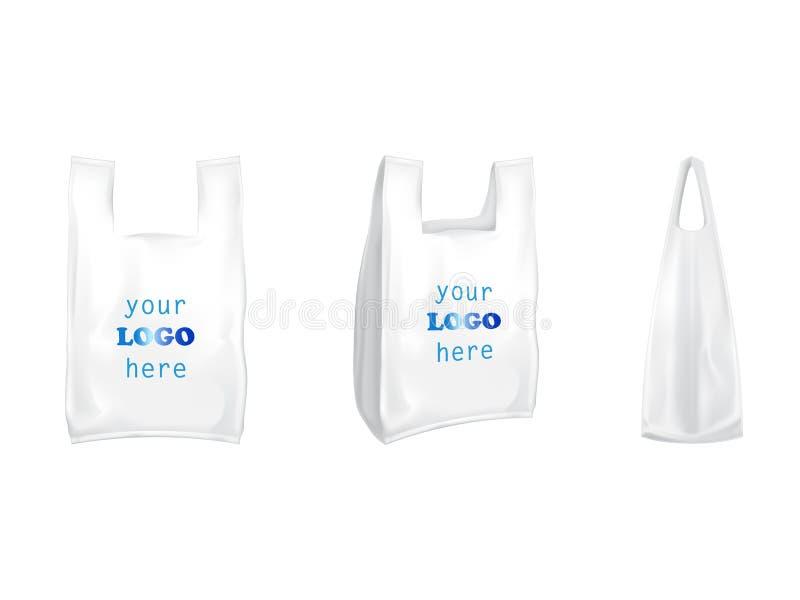 塑料T恤杉购物袋传染媒介隔绝了3D现实白色空白包装与烙记的把柄模板 向量例证