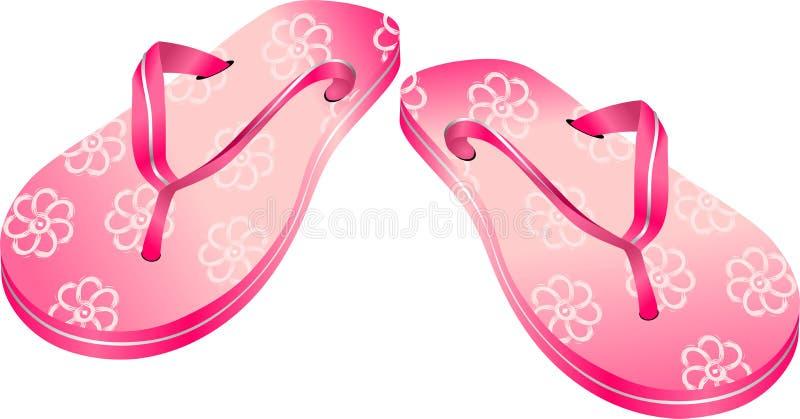 塑胶人字平底拖鞋粉红色 库存照片
