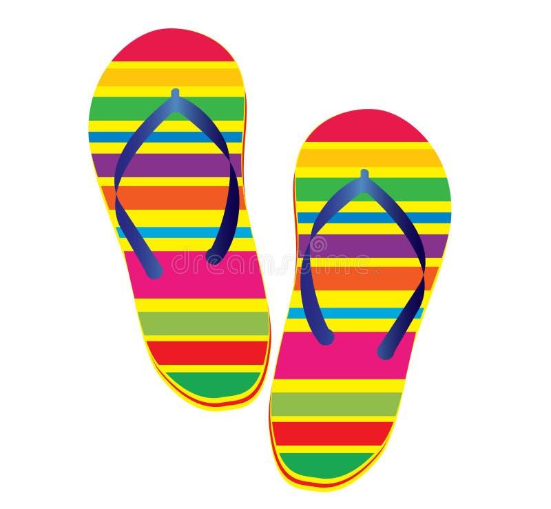 塑胶人字平底拖鞋 库存例证