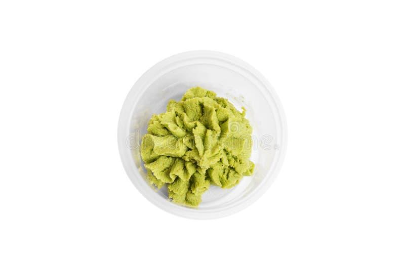 塑胶容器山葵调味汁寿司交付食物概念 免版税库存照片
