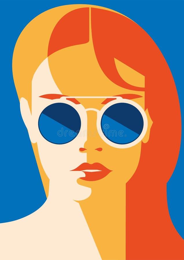 塑造一个式样女孩的画象有太阳镜的 减速火箭的时髦颜色海报或飞行物 库存例证
